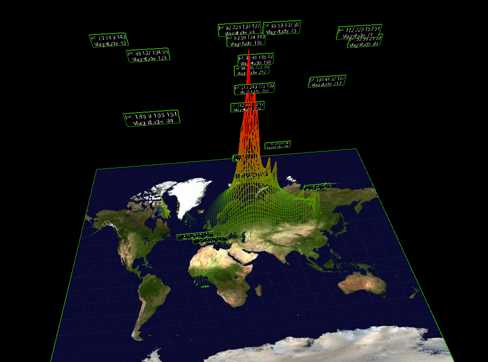 3D Mesh Grid on Worldmap with Heat Map Tiles